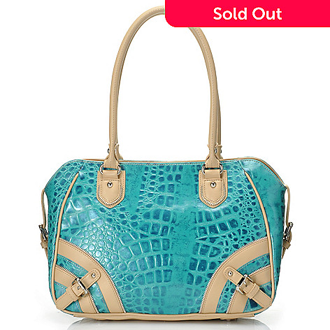 712-356 - Madi Claire Croco Embossed Leather ''Allison'' Satchel