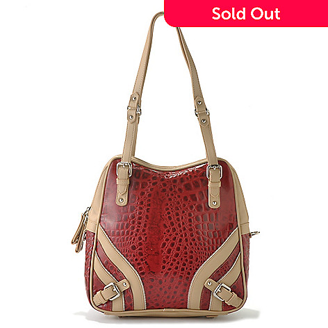 712-357 - Madi Claire Croco Embossed Leather ''Allison'' Tote Bag