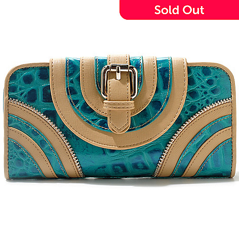 712-358 - Madi Claire Croco Embossed Leather ''Allison'' Wallet