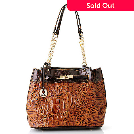 712-363 - Madi Claire Croco Embossed Leather ''Brittany'' Bucket Bag
