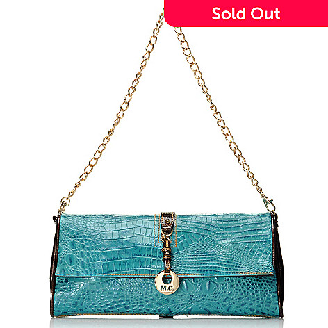 712-364 - Madi Claire Croco Embossed Leather ''Brittany'' Large Clutch w/ Chain Strap