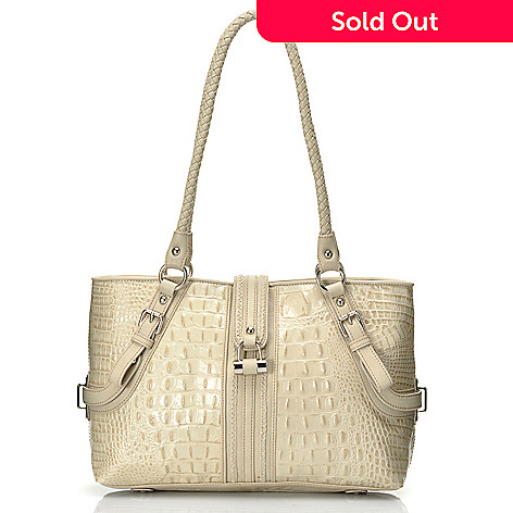 712-366 - Madi Claire Croco Embossed Leather ''Annette'' Tote Bag