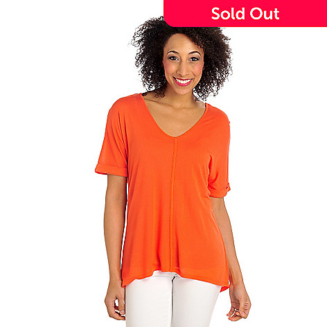 712-371 - Kate & Mallory® Stretch Knit Cuff Dolman Sleeve Kick Pleat Back Hi-Lo Hem Top