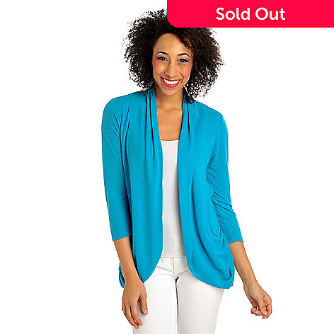 712-372 - Kate & Mallory® Stretch Knit 3/4 Sleeved Ruched Tie Back Open Cardigan
