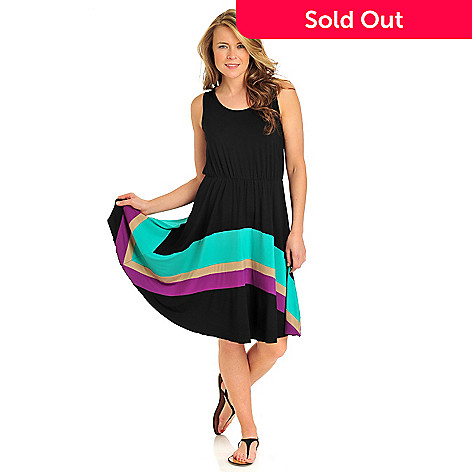 712-373 - Kate & Mallory® Stretch Knit Sleeveless Color Block Stripe Flip Flop Dress