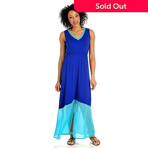 712-375 - Kate & Mallory® Stretch Knit Chiffon Trimmed Color Block Maxi Dress