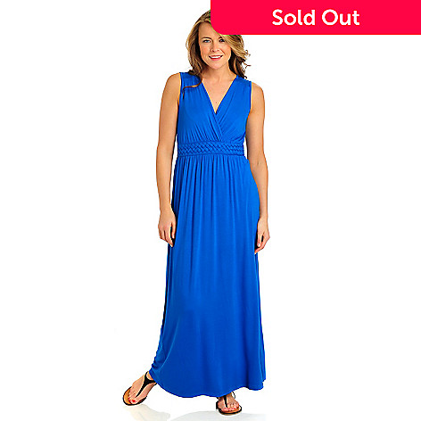 712-376 - Kate & Mallory® Stretch Knit Sleeveless Braided Empire Maxi Dress