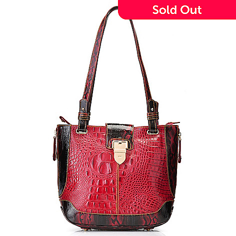 712-377 - Madi Claire ''Kayla'' Crocodile Embossed Leather Double Handle Satchel
