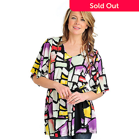 712-407 - Kate & Mallory Stretch Knit Kimono Sleeved Sash Belt Tunic