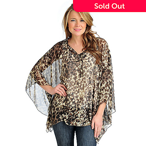 712-409 - Kate & Mallory® Printed Yoryu Poncho Sleeved Peasant Blouse w/ Knit Layer Cami