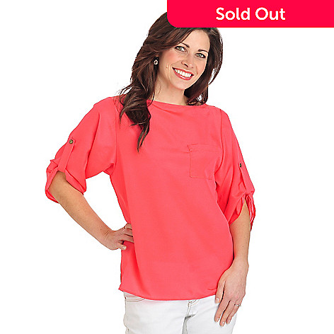 712-411 - Kate & Mallory® Crepe Roll Tab Sleeved One-Pocket Boat Neck Blouse