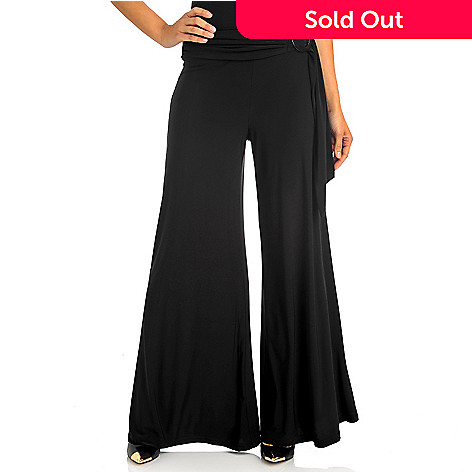 712-416 - Kate & Mallory Stretch Knit Self-Tie & Buckle Wide Leg Pants