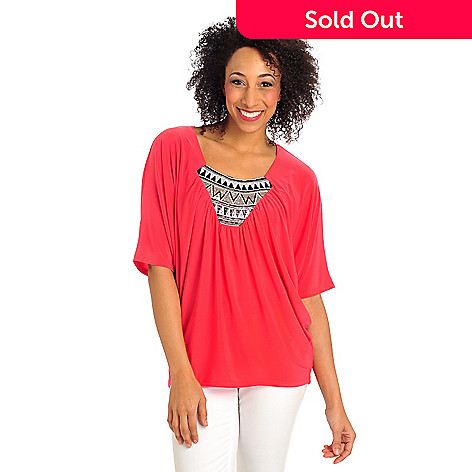 712-417 - Kate & Mallory® Stretch Knit Dolman Sleeved Sequin Bib Poncho Top