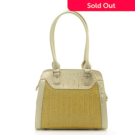 712-421 - Madi Claire Croco Embossed Leather ''Dana'' Double Handle Satchel