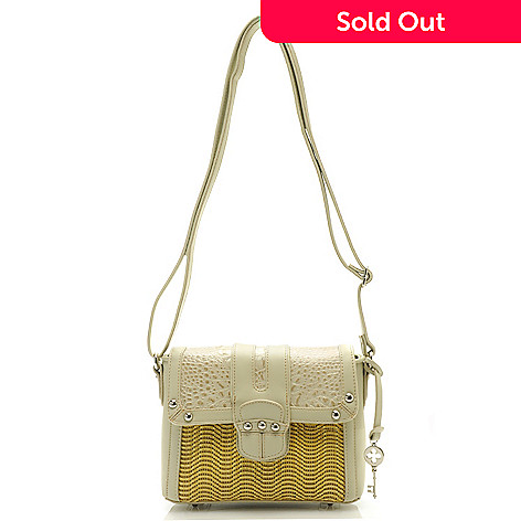 712-422 - Madi Claire Croco Embossed Leather ''Dana'' Flap Over Cross Body Bag