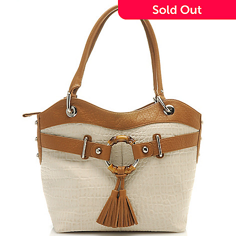 712-426 - Madi Claire Croco Embossed Leather ''Maria'' Tasseled Zip Top Large Tote Bag