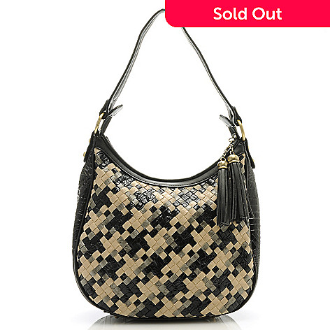 712-428 - Madi Claire Croco Embossed Leather ''Caryn'' Tasseled Zip Top Woven Hobo Handbag