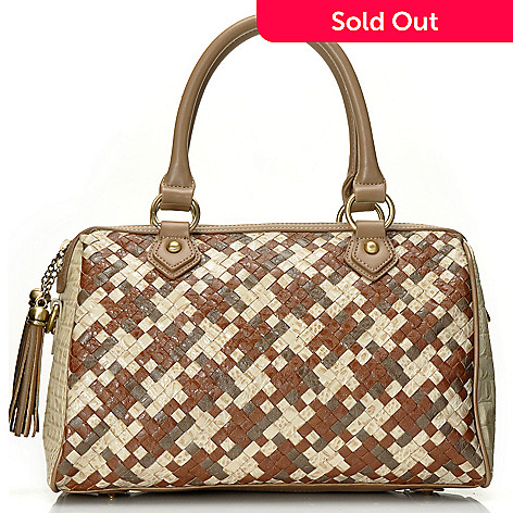712-429 - Madi Claire Croco Embossed Leather ''Caryn'' Woven Satchel w/ Cross Body Strap