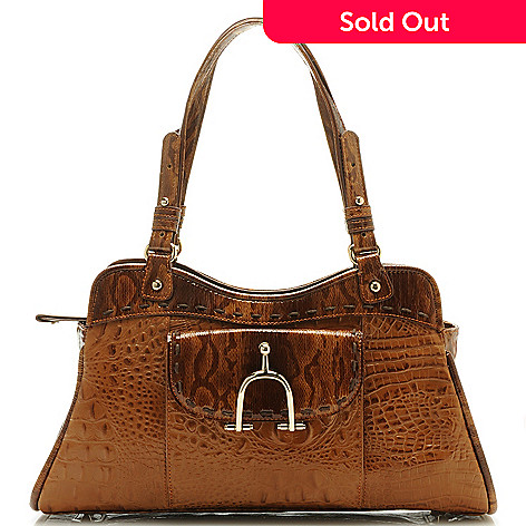 712-431 - Madi Claire Croco Embossed Leather ''Taylor'' Double Handle Satchel