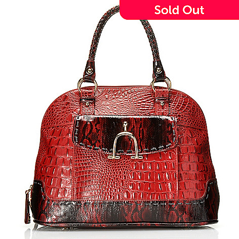 712-433 - Madi Claire Croco Embossed Leather ''Taylor'' Zip Around Tote w/ Cross Body Strap