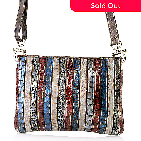 712-435 - Madi Claire Croco Embossed Leather ''Kristin'' Multi Color Cross Body Bag