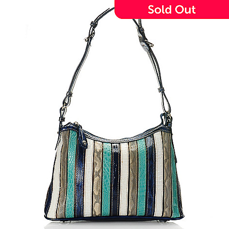 712-436 - Madi Claire Croco Embossed Leather ''Kristin'' Multi Color Shoulder Bag