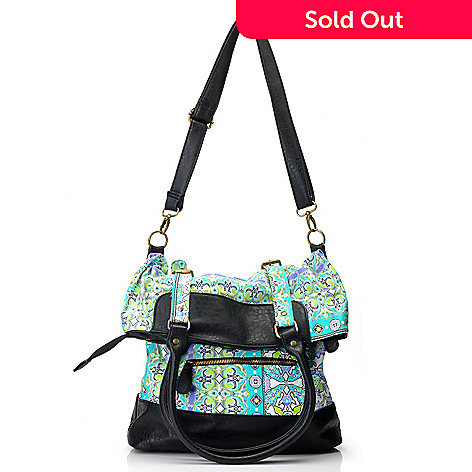 712-438 -  One World Print Canvas Double Buckle Fold Over Messenger Bag