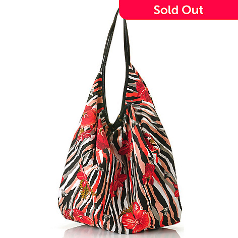 712-440 - One World Printed Woven Zip Closure Oversized Slouchy Tote Bag