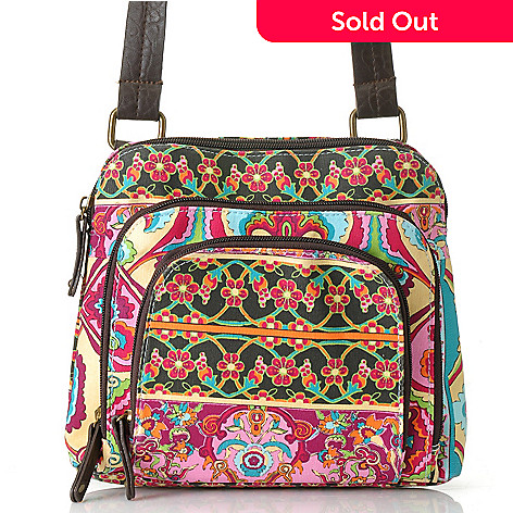 712-441 - One World Printed Canvas Tri-Pocket Cross Body Bag
