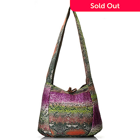 712-442 - One World Reversible Woven Tie Closure Cross Body Hobo Handbag
