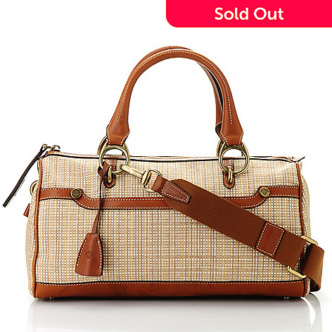 712-448 - PRIX DE DRESSAGE Raffia Straw Double Handle Satchel w/ Shoulder Strap