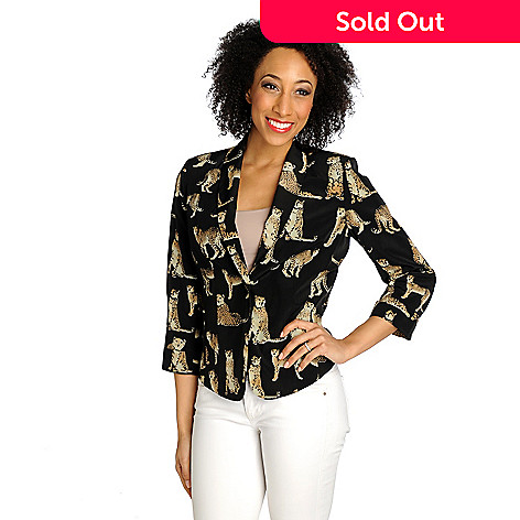 712-457 - WD.NY Print Woven Cuffed 3/4 Sleeve One-Button Fully Lined Blazer