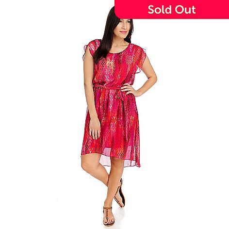 712-473 - aDRESSing WOMAN Georgette Cap Sleeved Hi-Lo Blouson Dress