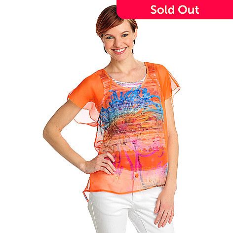 712-489 - One World Printed Chiffon Flutter Sleeved Blouse w/ Printed Knit Tank
