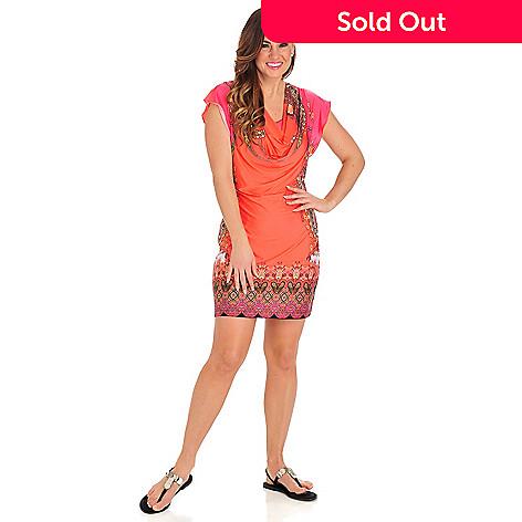 712-496 - One World Micro Jersey Flutter Sleeved Drape Neck Border Print Dress