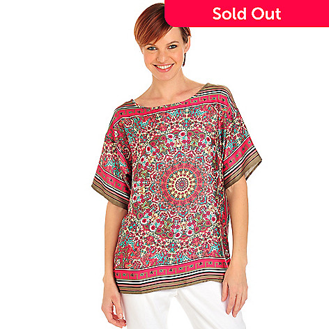 712-501 - Kate & Mallory Print Charmeuse Short Sleeved Tee Body Blouse