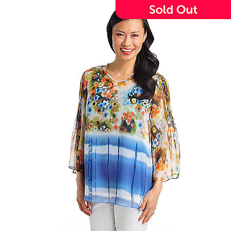 712-502 - Kate & Mallory® Print Chiffon Pintuck Sleeve Tunic Blouse w/ Knit Layer Cami