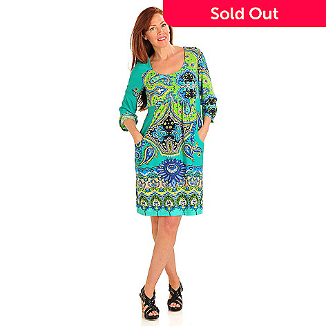 712-503 - Kate & Mallory® Stretch Knit 3/4 Sleeved Front Pocket Empire Waist Dress
