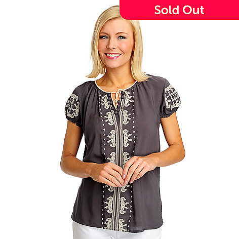 712-504 - One World Challis Short Sleeved Tie-Front Peasant Top