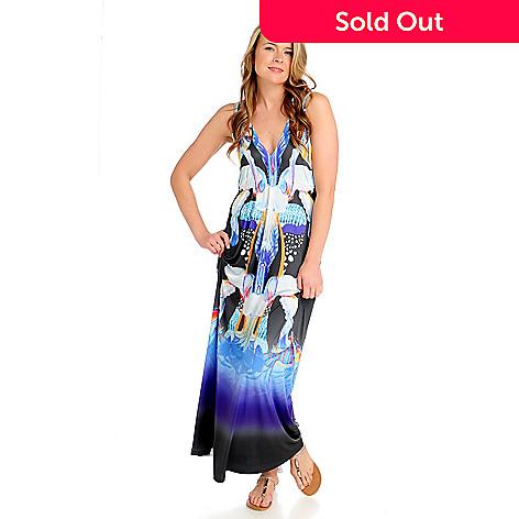 712-525 - One World Micro Jersey Sleeveless Studded Shoulder Maxi Dress