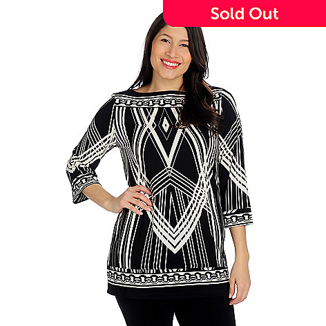 712-534 - Geneology Stretch Knit 3/4 Sleeved Border Print Boat Neck Tunic