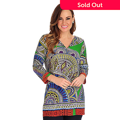 712-535 - Geneology Stretch Knit 3/4 Sleeved Notched Neck Printed Tunic