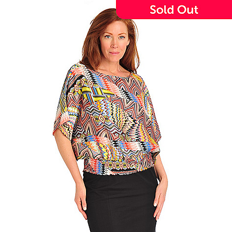 712-547 - Kate & Mallory® Print Charmeuse Poncho Sleeved Smock Waist Blouse