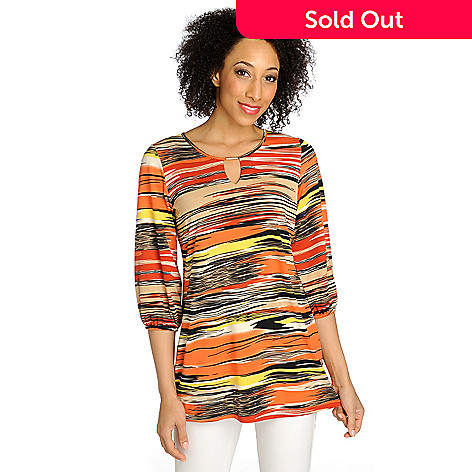 712-548 - Kate & Mallory® Stretch Knit Balloon Sleeved Keyhole Neck Tunic