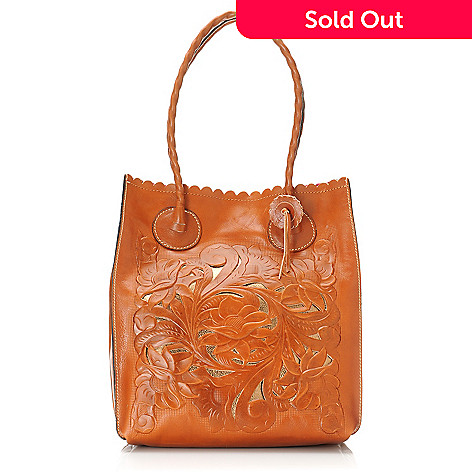 712-552 - Patricia Nash Tooled Leather Floral Design Metallic Underlay Tote Bag