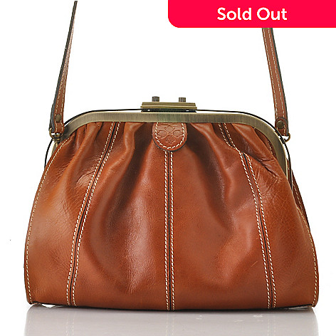 712-554 - Patricia Nash Leather Framed Entry Pleated Cross Body Bag