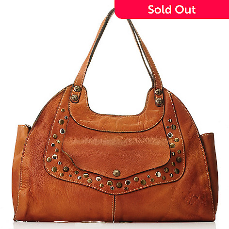 712-555 - Patricia Nash Leather Double Handle Studded Satchel