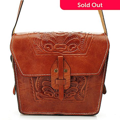 712-586 - Patricia Nash ''Marciano'' Tooled Leather Flap-over Cross Body Bag