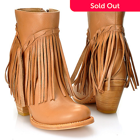 712-592 - Matisse® Leather ''Rumour'' Fringe Detailed Short Boots