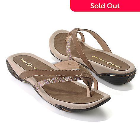 712-616 - Jambu Leather & Memory Foam Slip-on Toe Loop Thong Sandals